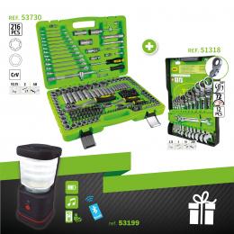 SERIE332E: ESTUCHE 216PCS ref. 53730 + LLAVES COMBINADAS ref. 51318 + LÁMPARA ALTAVOZ REGALO