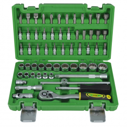 "59 PIECE TOOL CASE WITH 3/8"" 12-POINT SOCKETS"