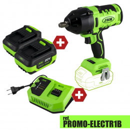 """PROMO POWER: BRUSHLESS IMPACT WRENCH 1/2"""" + FREE >> x2 4.0 Ah LI-ION BATTERIES & x1 20V CHARGER"""