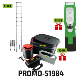 TELESCOPIC LADDER WITH 12 STEPS + FREE LED PORTABLE LIGHT 200LM + BOOT ORGANIZER