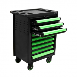 ROLLER CABINET WITH 9 DRAWERS EMPTY - GREEN