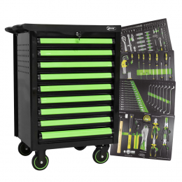 PROMO ROLLER CABINET WITH 9 DRAWERS + TOOL MODULES SET IN CARBON FIBER FINISH