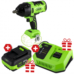 """PROMO POWER: BRUSHLESS IMPACT WRENCH 1/2"""" + FREE >> 4.0 Ah LI-ION BATTERY & 20V CHARGER"""