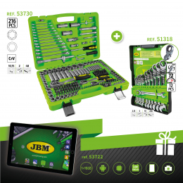 SERIE332C: 216 PIECES SET ref 53730 + COMBINATION SPANNERS ref 51318 + GIFT TABLET