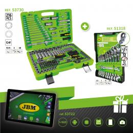 SERIE332C: ESTUCHE 216PCS ref. 53730 + LLAVES COMBINADAS ref. 51318 + TABLET REGALO