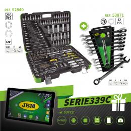 SERIE339C: ESTUCHE 216PCS ref. 52840 + LLAVES COMBINADAS ref. 53871 + TABLET REGALO