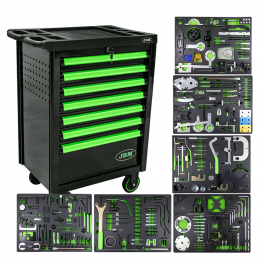 7 DRAWERS GREEN CABINET WITH TIMING TOOLS SET