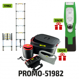 TELESCOPIC LADDER 6 STEPS + FREE LED PORTABLE LIGHT 200LM + BOOT ORGANIZER