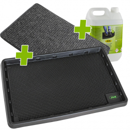 PROMO MAT WITH TANK FOR DISINFECTANT + DRYING CARPET + LIQUID
