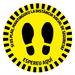FLOOR ADHESIVE WARNING ROUND STICKER - SAFETY DISTANCE
