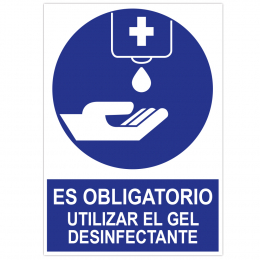 "POSTER BOARD A3 WITH ""IT IS MANDATORY THE USE OF DISINFECTANT GEL"""