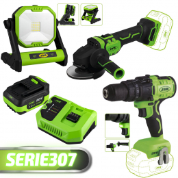 PROMO POWER TOOLS: DRILL+LED LIGHT+GRINDER+BATTERY+CHARGER