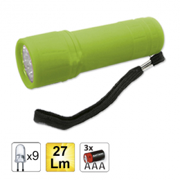 9 LED PLASTIC FLASHLIGHT, GREEN