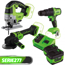 PROMO POWER: JIG SAW + GRINDER + IMPACT DRILL + 2 BATTERIES + CHARGER