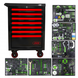 7 DRAWERS RED CABINET WITH TIMING TOOLS SET
