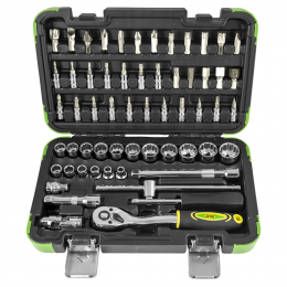 """59 PIECE TOOL CASE WITH 3/8"""" 12-POINT SOCKETS"""