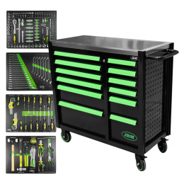 TOOL CABINET WITH DOUBLE COLUMN OF DRAWERS - WITH TOOLS - GREEN